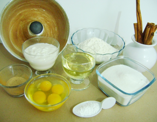 Ingredientes bolo de iogurte da Vê